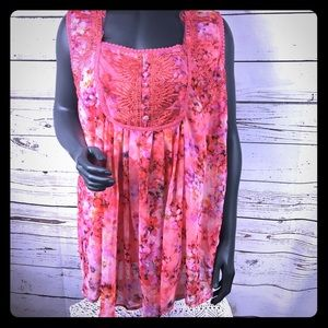 Roaman's Pink Embroidered Tunic Top. Sz 20W